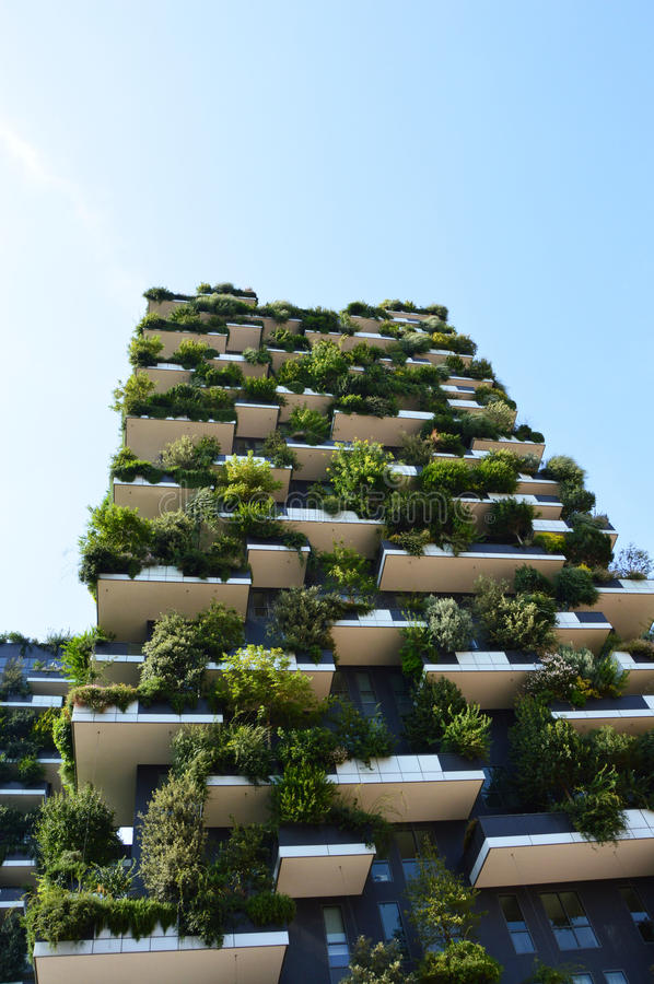 Modern and ecologic skyscrapers with many trees on every balcony. Bosco Verticale, Milan, Italy stock image