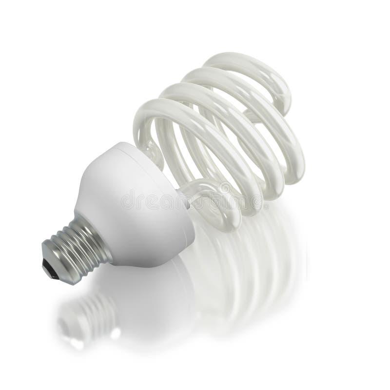 Modern ecological fluorescent light bulb. Economic fluorescent ecological light bulb on white background royalty free illustration
