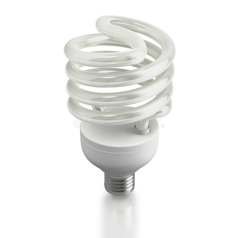 Modern ecological fluorescent light bulb. Economic fluorescent ecological light bulb on white background stock illustration