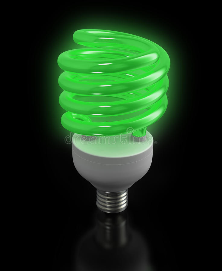Modern ecological fluorescent light bulb. Economic fluorescent ecological light bulb on black background vector illustration