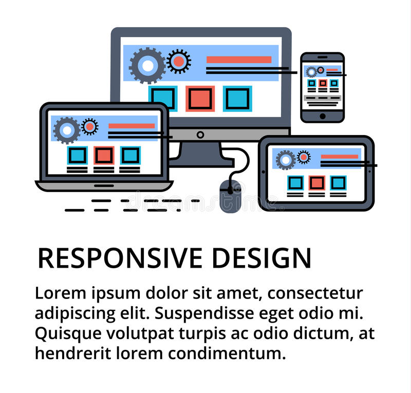 Modern editable flat line vector of responsive design. For web and graphic design stock illustration