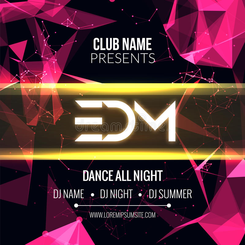 Modern EDM Music Party Template, Dance Party Flyer, brochure. Night Party Club Banner Poster. vector illustration