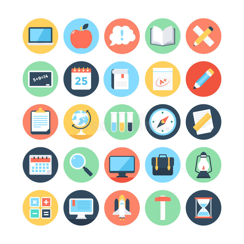 Modern Education and Knowledge Colored Vector Icons 2 vector illustration