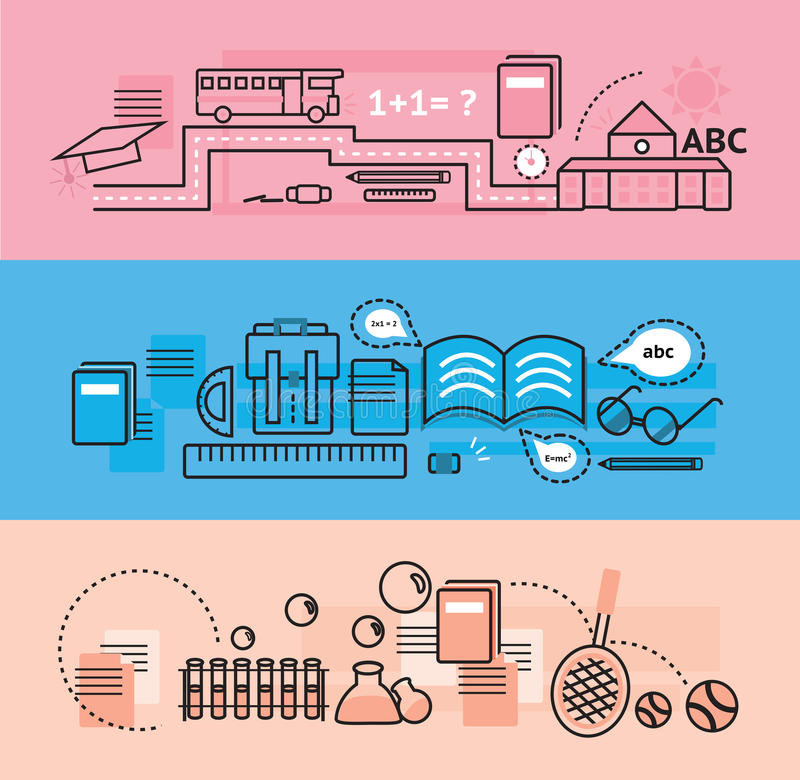 Modern education and school subject flat line design banners royalty free illustration