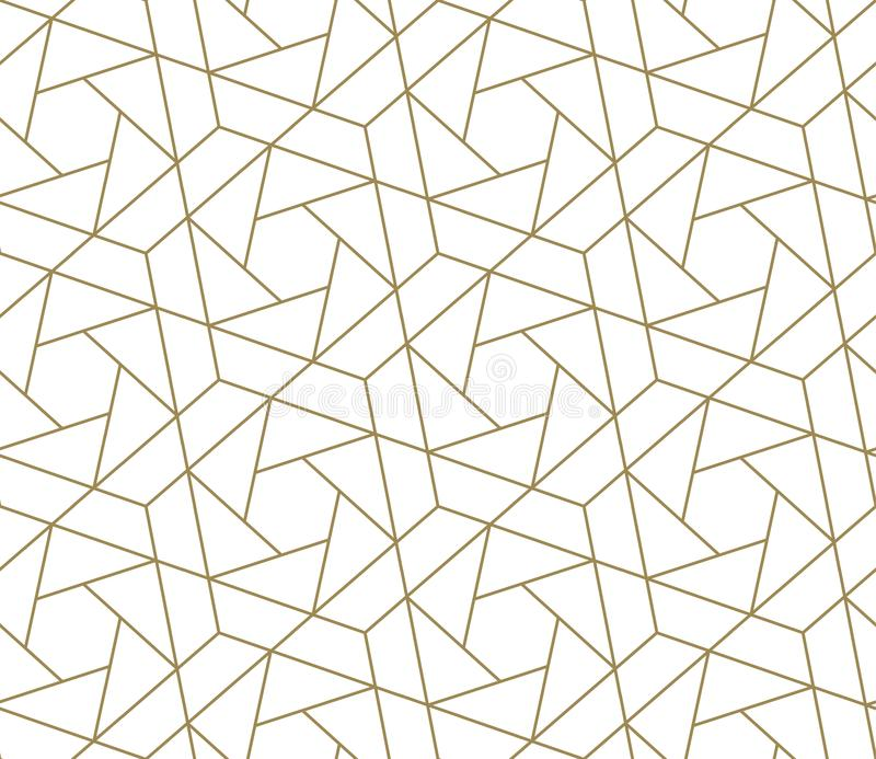 Modern eenvoudig geometrisch vector naadloos patroon met gouden lijntextuur op witte achtergrond Licht abstract behang stock illustratie