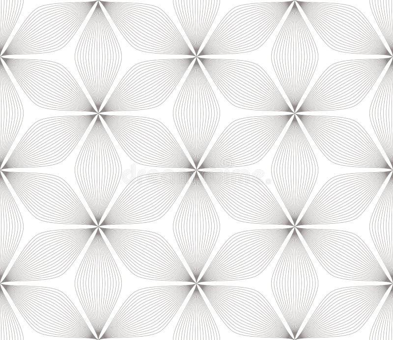 Modern eenvoudig geometrisch vector naadloos patroon met zwarte bloemen, lijntextuur op witte achtergrond Lichte samenvatting vector illustratie