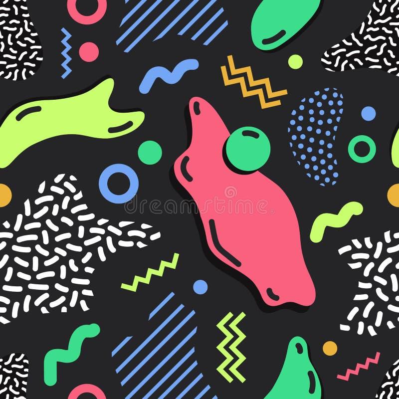 Modern eenvoudig naadloos patroon met heldere gekleurde vlekken, lijnen en vormen van diverse textuur op zwarte achtergrond royalty-vrije illustratie