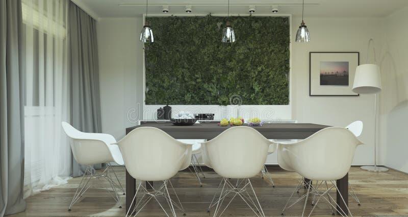 Modern eetkamer binnenlands ontwerp met installaties stock fotografie