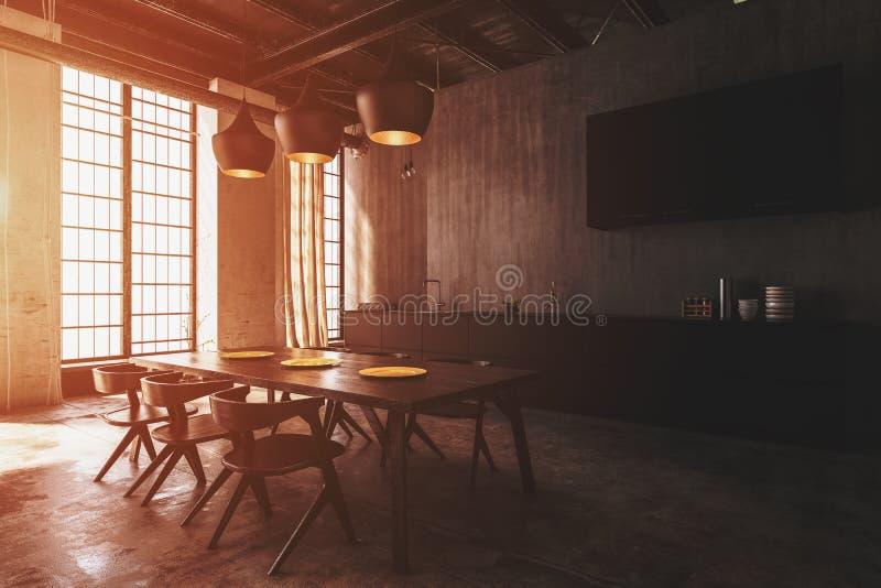 Modern eetkamerbinnenland met plafondlichten royalty-vrije illustratie