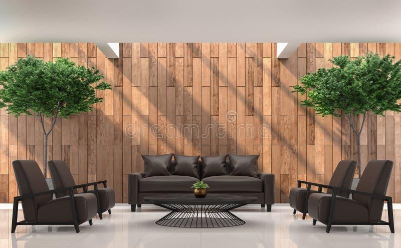 Modern eigentijds woonkamer binnenlands 3d teruggevend beeld vector illustratie