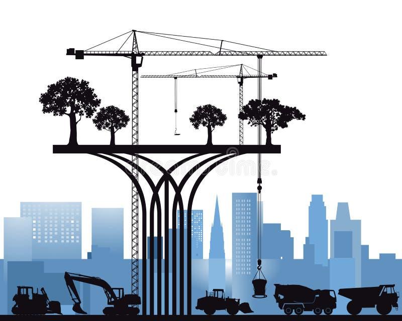 Modern ekologisk byggnad royaltyfri illustrationer