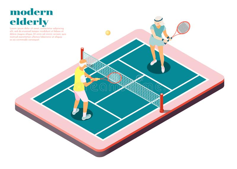 Modern Elderly People Isometric Composition. With male and female persons playing tennis on court vector illustration stock illustration
