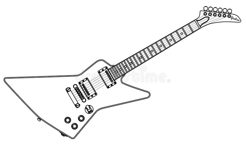 modern electric guitar outline stock vector