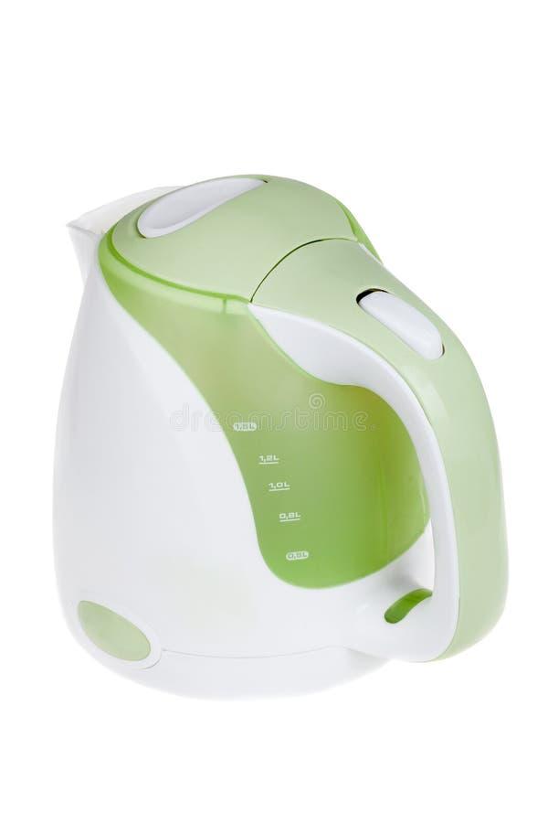 Modern electric kettle, kitchen equipment, isolated on white. Modern green white electric kettle, kitchen equipment, isolated on white stock image