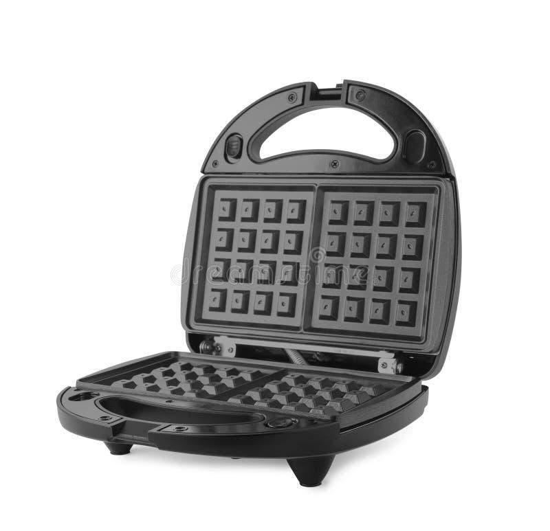 Modern electric waffle iron isolated. On white stock photos