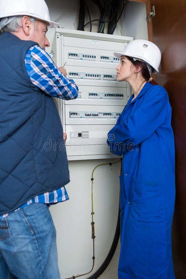 Modern electrical panel board stock image