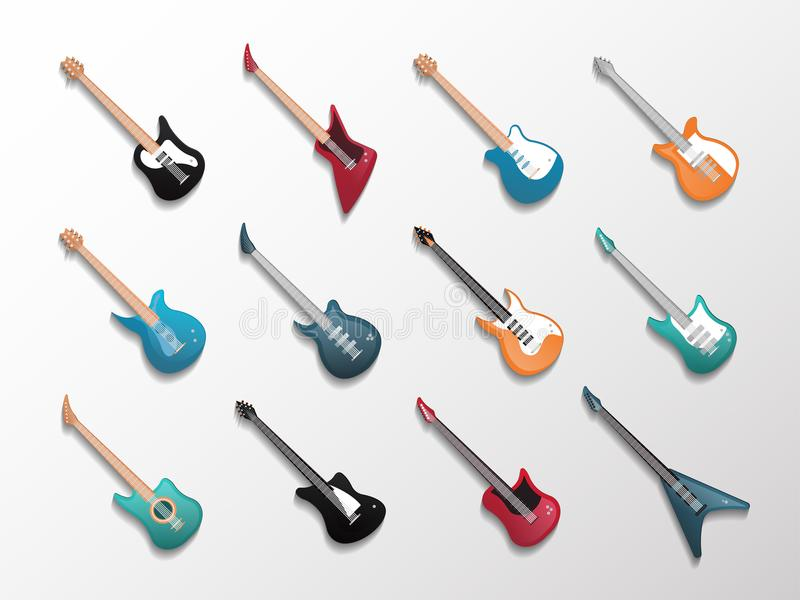 Electronic and acoustic guitars icon set stock illustration