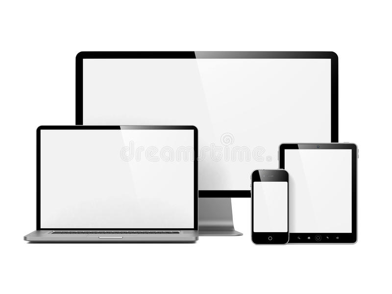 Modern Electronic Devices Isolated on White. stock illustration
