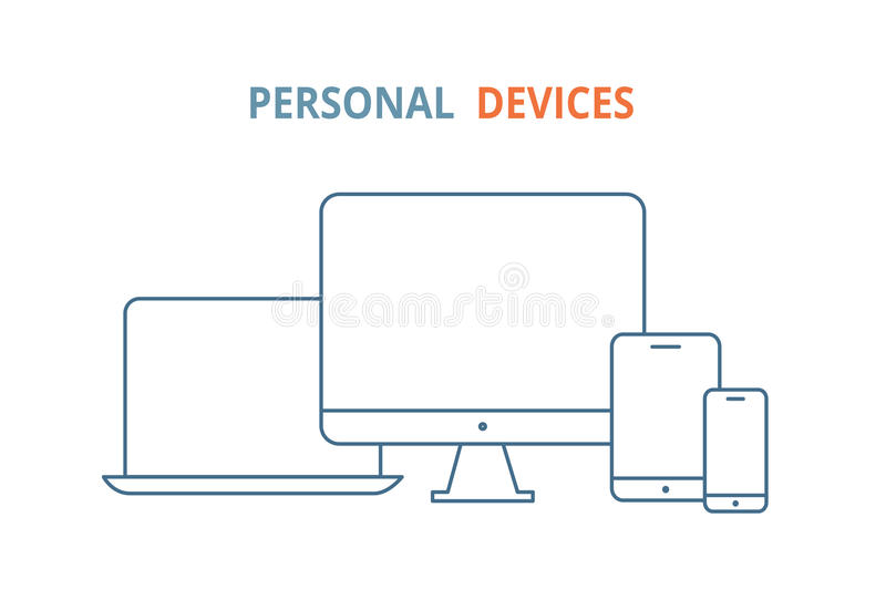 Modern electronic devices. Line style illustration of laptop royalty free illustration
