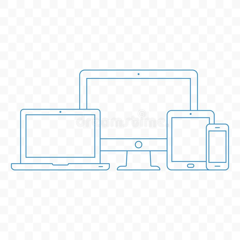 Modern electronic devices. Line style illustration of pc, laptop, tablet and mobile phone. royalty free illustration