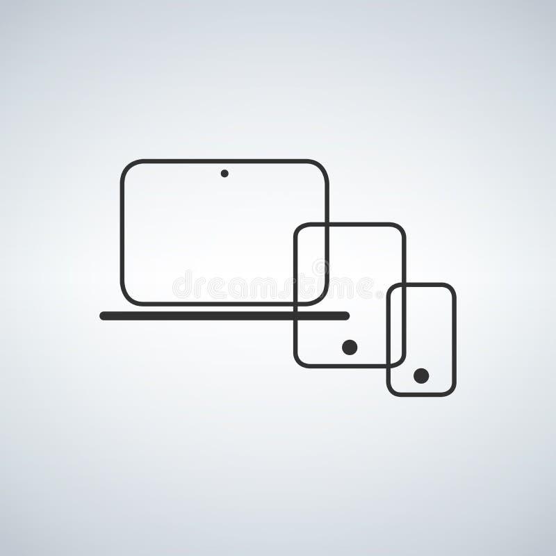 Modern electronic devices. Line style illustration stock illustration