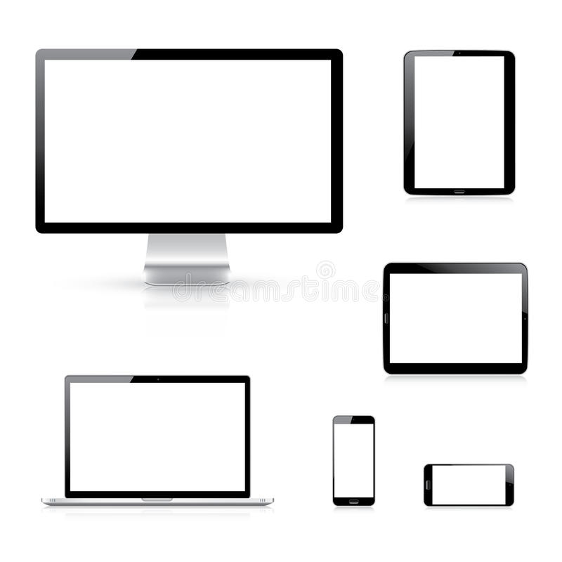 Modern electronic devices vector eps10 illustratio royalty free illustration