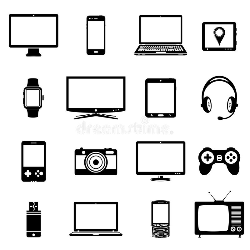 Modern electronic gadgets icons stock illustration