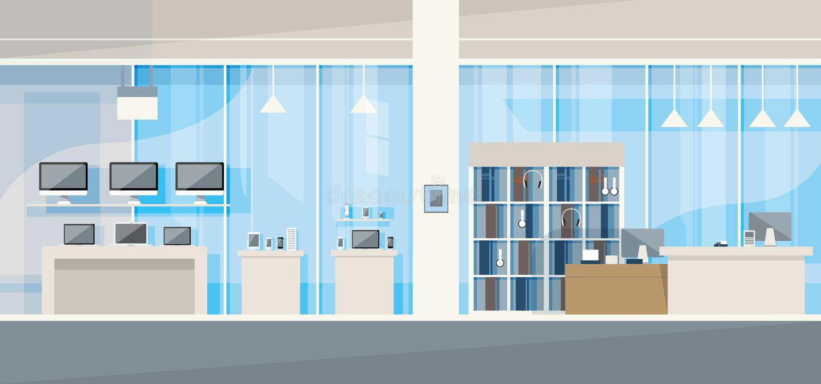 Modern Electronics Store Shop Interior Stock Vector - Image: 67647537