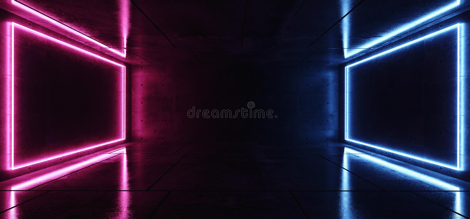 Modern Elegant Futuristic Neon Blue Purple Pink Glowing Rectangle Lights In Dark Empty For Text Room Grunge Reflective Concrete. Background 3D Rendering vector illustration