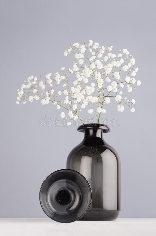 Modern elegant home decor of black transparent smooth glass vase with small flowers, decoration sphere on pastel grey color wall. royalty free stock image