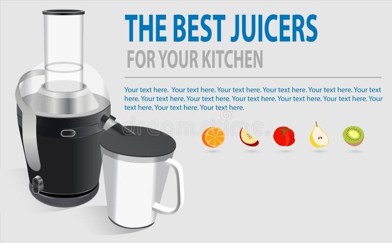 Modern elektrisk juicer, olik frukt och exponeringsglas av nytt gjord fruktsaft, sunt livsstilbegrepp Ny start, förlorande vikt vektor illustrationer