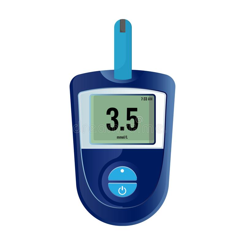 Modern elektronisch apparaat dat suikerniveau in bloed toont stock illustratie