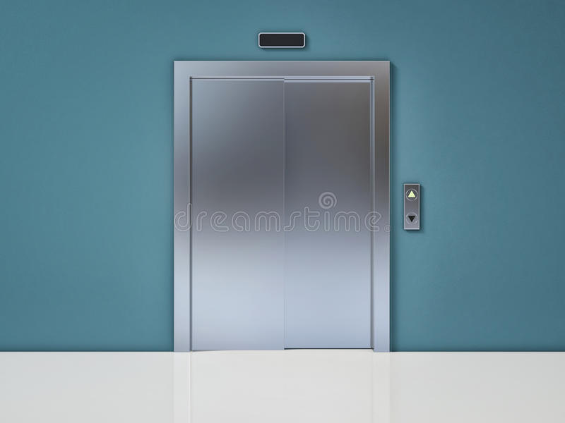 Modern Elevator with Closed Door on Blue Wall vector illustration