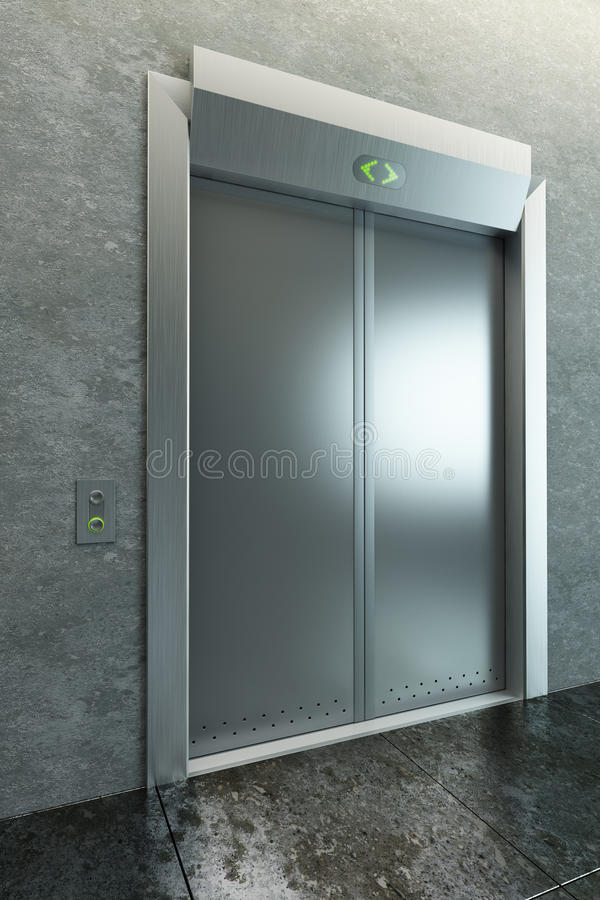 Download Modern Elevator With Closed Doors Stock Illustration - Illustration of entrance, hall: 17985764