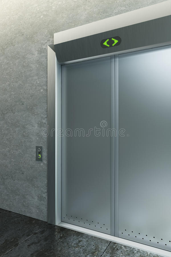 Download Modern Elevator With Closed Doors Stock Illustration - Image: 23690287