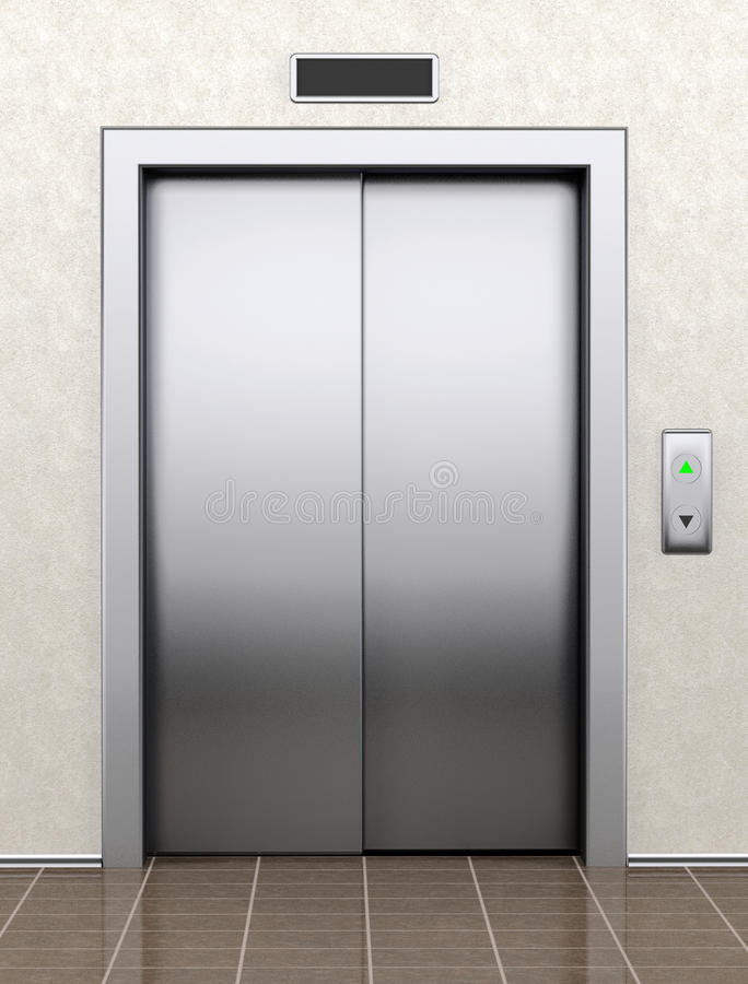 Modern elevator with closed doors stock illustration for Indoor elevator