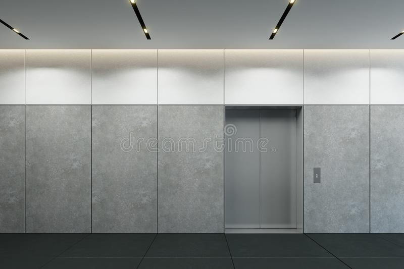 Modern elevator with closed doors in office lobby, 3d render vector illustration