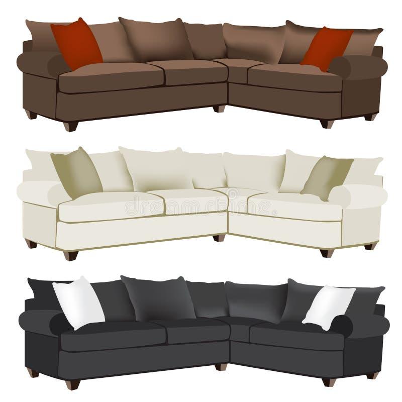 Modern eller modern sektions- soffa med att kontrastera kuddar vektor illustrationer