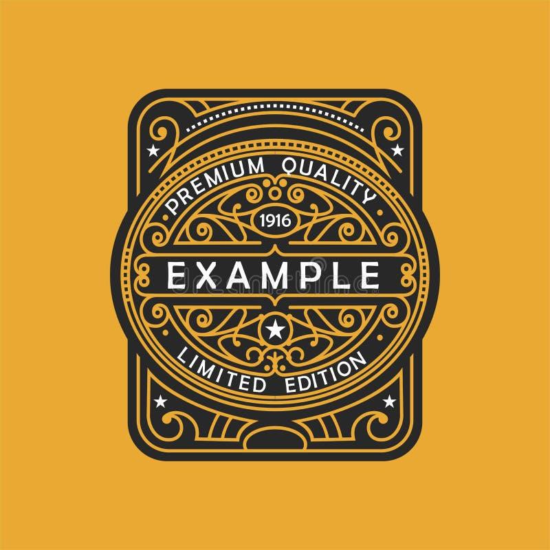 Modern embleem, kenteken, monogrammalplaatje Van de het ornamentlijn van het luxe de elegante kader van het het embleemontwerp ve royalty-vrije illustratie