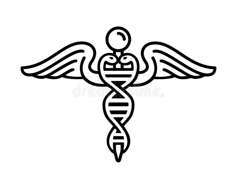 Modern embleem van genetische biologie als deel van geneeskunde met nucleic zuur dubbele schroef en caduceus, slangen en vleugels stock illustratie