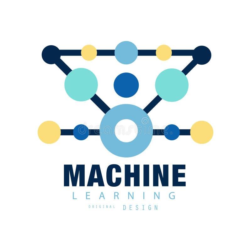 Modern embleem van machine het leren Computertraining Geometrisch technologiepictogram met gekleurde cirkels Vlak vectorontwerp stock illustratie