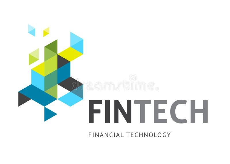 Modern embleemconceptontwerp van de fintechindustrie, financiëndigitiza stock illustratie