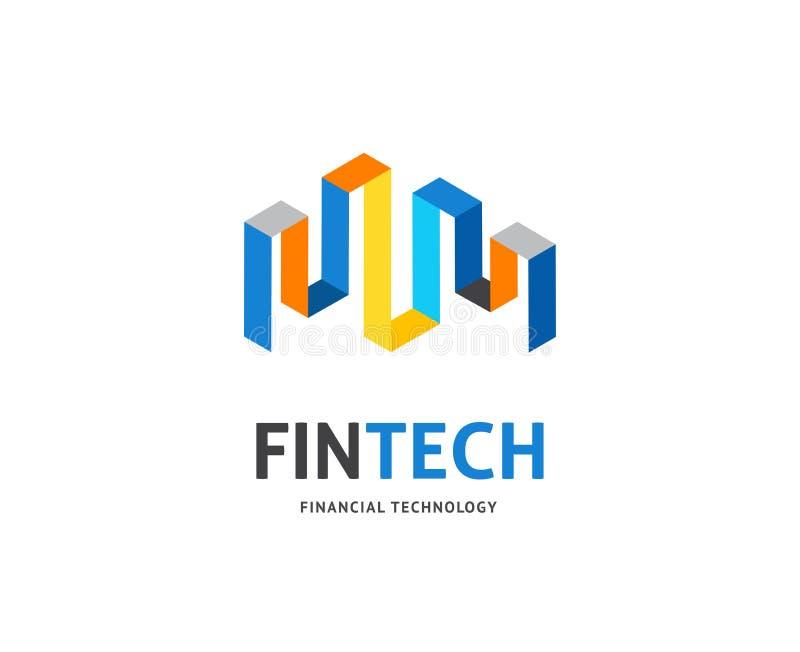 Modern embleemconceptontwerp van de fintechindustrie, financiëndigitiza royalty-vrije illustratie