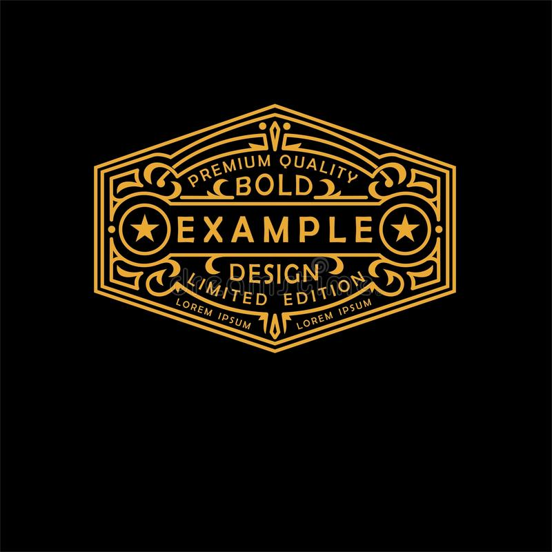 Modern emblem, badge, label, monogram template. Luxury elegant frame ornament line logo design vector illustration. Art Nouveau style royalty free illustration