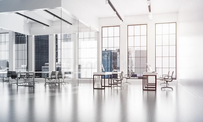 Office interior design in whire color and rays of light from win. Modern empty elegant office with windows and workplaces. Mixed media