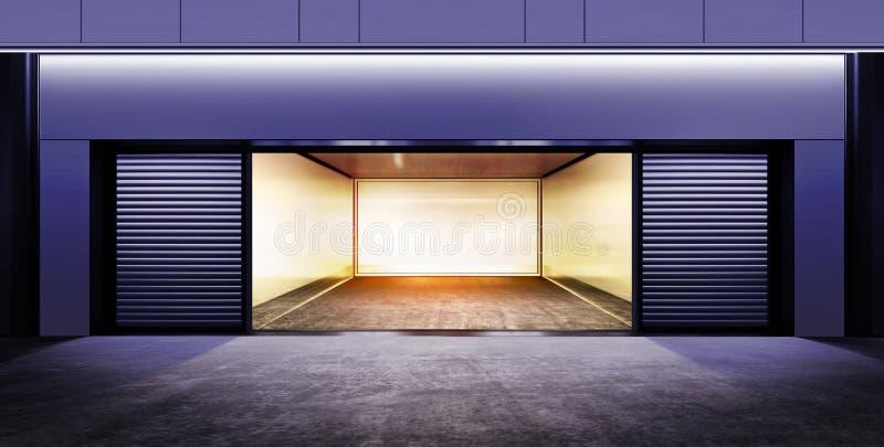 Modern empty garage at night. Modern empty garage on street of city at night time stock photo