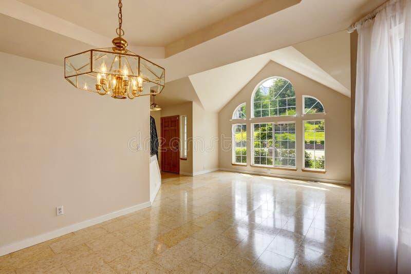 Modern empty house interior with marble tile floor stock photos