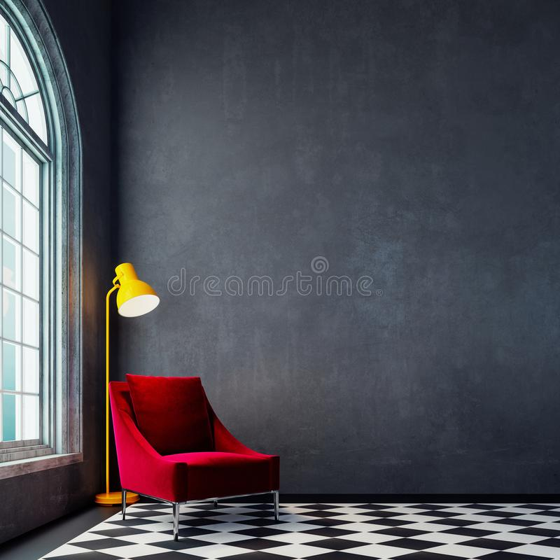 Modern empty interior design with red armchair and yellow floor lamp stock illustration