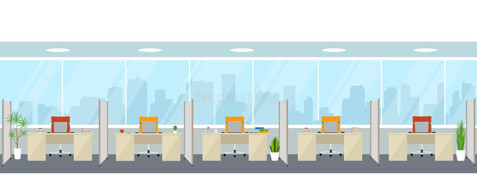 Modern empty office interior with workplaces. Office space with panoramic windows vector illustration