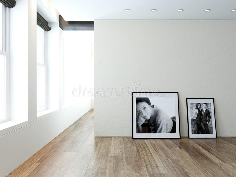 Modern empty room interior with pictures on wall stock illustration